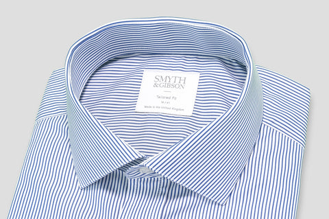 Smyth & Gibson Candy Stripe Tailored Fit Shirt in Blue