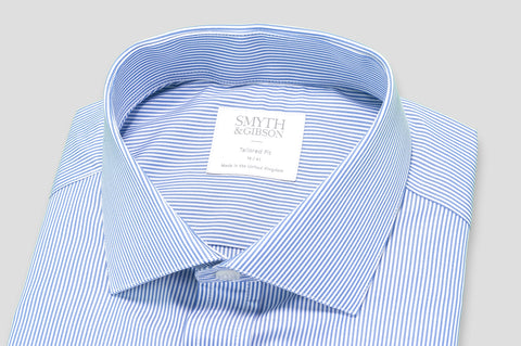 Smyth & Gibson Bengal Stripe Tailored Fit Shirt in Blue