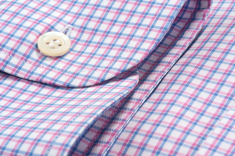 Smyth & Gibson Multi-Check Twill Slim Fit Shirt in Pink & Blue