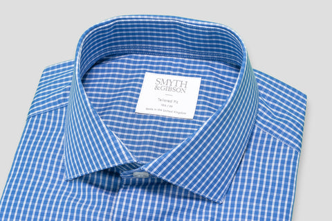 Smyth & Gibson Gingham Check Tailored Fit Shirt in Blue - Smyth & Gibson Shirts