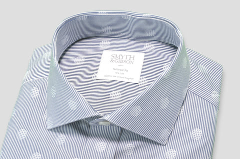 Smyth & Gibson Candy Stripe Jacquard Spot Tailored Fit Shirt in Slate Blue