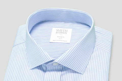 Smyth & Gibson Multi-Stripe Tailored Fit Shirt in Light Blue