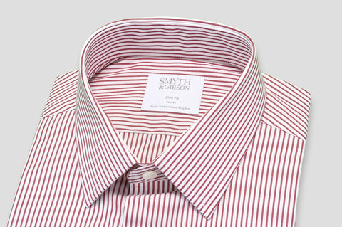 Smyth & Gibson Candy Stripe Slim Fit Shirt in Red