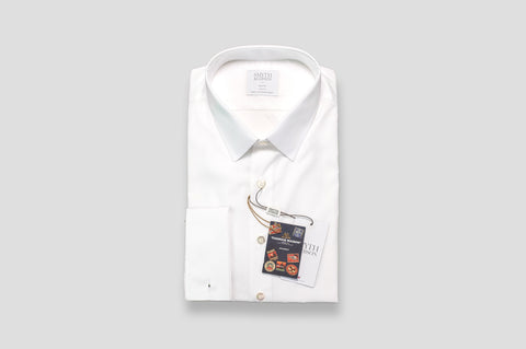 Smyth & Gibson Journey Poplin Double Cuff Slim Fit Shirt in White