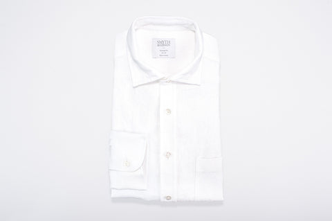 Smyth and Gibson 100% Irish Heavy Linen Shirt in White - Smyth & Gibson Shirts