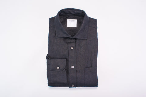 Smyth and Gibson 100% Heavy Irish Linen Shirt in Black - Smyth & Gibson Shirts