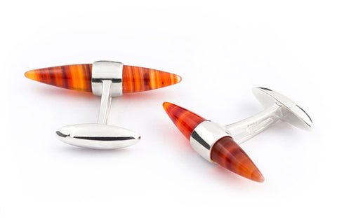 ALISTAIR-R ORANGE AGATE CUFFLINKS - Smyth & Gibson Shirts
