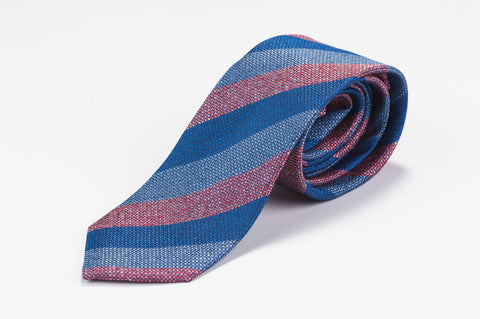 Smyth & Gibson 100% Silk 3 Tone Striped Tie in Blue & Grey - Smyth & Gibson Shirts