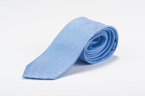 Smyth & Gibson 100% Silk Polka Dot Tie in Light Blue - Smyth & Gibson Shirts