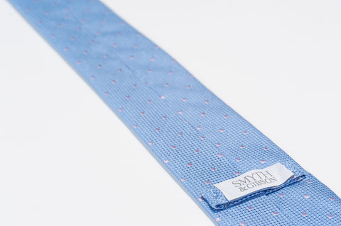 Smyth & Gibson 100% Silk Polka Dot Tie in Light Blue