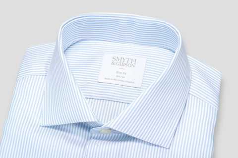 Smyth & Gibson Textured Bengal Stripe Slim Fit Shirt in Sky Blue - Smyth & Gibson Shirts