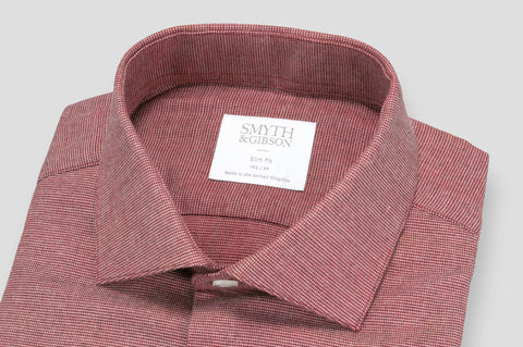 Smyth & Gibson Textured Brushed Cotton Slim Fit Shirt in Burgundy - Smyth & Gibson Shirts