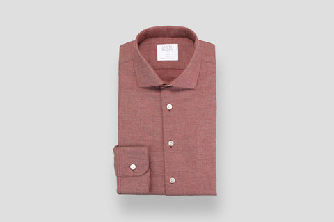 Smyth & Gibson Textured Brushed Cotton Slim Fit Shirt in Burgundy