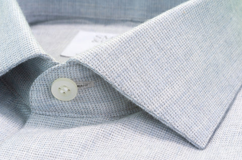 Smyth & Gibson Textured Brushed Cotton Slim Fit Shirt in Light Grey