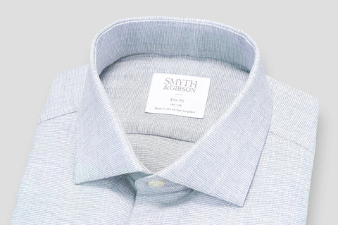 Smyth & Gibson Textured Brushed Cotton Slim Fit Shirt in Light Grey - Smyth & Gibson Shirts
