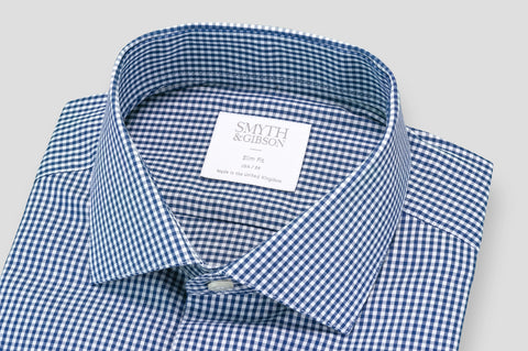 Smyth & Gibson Blast Twill Gingham Slim Fit Shirt in Navy - Smyth & Gibson Shirts