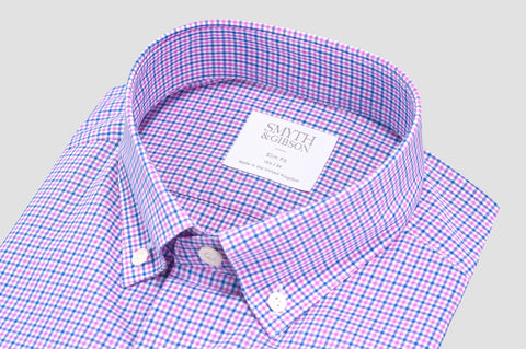 Smyth & Gibson Multi-Check Button-Down Collar Slim Fit Shirt in Pink and Blue - Smyth & Gibson Shirts