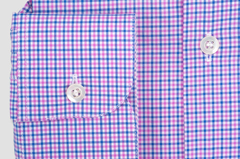 Smyth and Gibson Multi-Check Button-Down Collar Slim Fit Shirt in Pink and Blue
