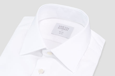 Smyth & Gibson Royal Twill Double Cuff Slim Fit Shirt in White - Smyth & Gibson Shirts