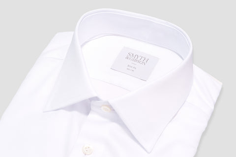 Smyth & Gibson Royal Oxford Classic Collar Slim Fit Shirt in White - Smyth & Gibson Shirts