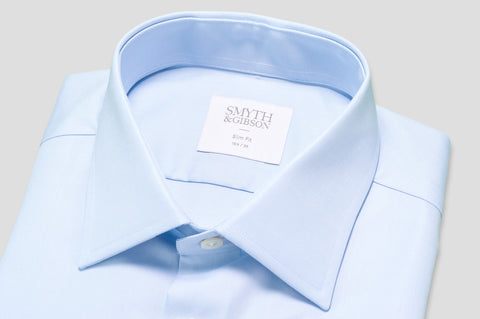Smyth & Gibson Royal Twill Cotton Slim Fit Shirt in Sky Blue