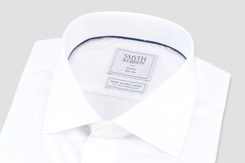 Smyth & Gibson S.W.E. Non Iron Luxury Poplin Slim Fit Shirt in White - Smyth & Gibson Shirts