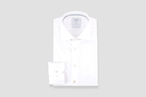 Smyth & Gibson S.W.E. Non Iron Luxury Poplin Slim Fit Shirt in White