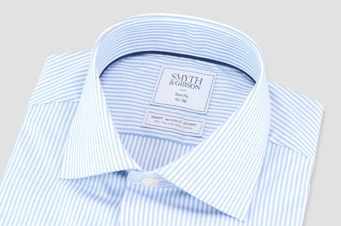 Smyth & Gibson S.W.E. Non Iron Bengal Stripe Slim Fit Shirt in Blue - Smyth & Gibson Shirts