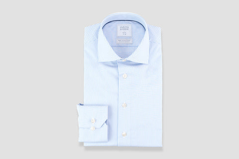 Smyth & Gibson S.W.E. Non Iron Bengal Stripe Slim Fit Shirt in Blue