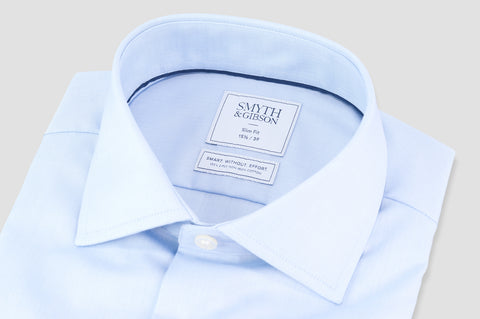 Smyth & Gibson Non Iron Micro Herringbone Twill Slim Fit Shirt in Light Blue - Smyth & Gibson Shirts