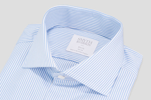 Smyth and Gibson Luxury Downing Bengal Stripe Slim Fit Shirt in Blue - Smyth & Gibson Shirts