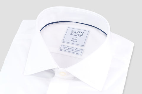 Smyth & Gibson S.W.E. Non-Iron Poplin Slim Fit Double Cuff Shirt in White - Smyth & Gibson Shirts