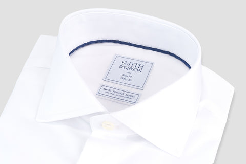 Smyth & Gibson S.W.E. Non-Iron Plain Twill Slim Fit Double Cuff Shirt in White