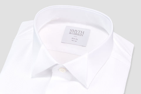Smyth & Gibson Fine Pleat Origami Collar Slim Fit Dinner Shirt in White - Smyth & Gibson Shirts