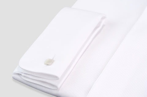 Smyth & Gibson Fine Pleat Origami Collar Slim Fit Dinner Shirt in White