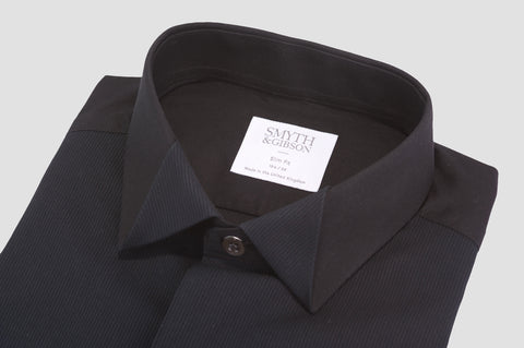 Smyth & Gibson Fine Pleat Origami Collar Slim Fit Dinner Shirt in Black - Smyth & Gibson Shirts
