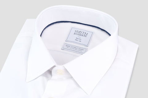 Smyth & Gibson S.W.E. Non-Iron Poplin Slim Fit Shirt in White - Smyth & Gibson Shirts