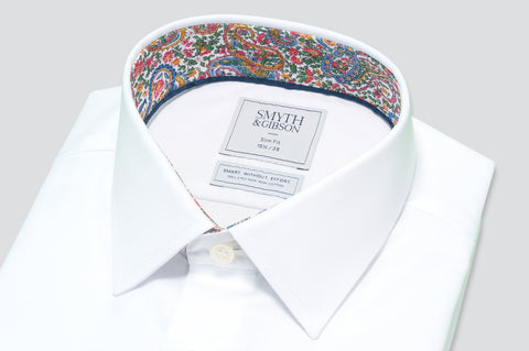 Smyth & Gibson S.W.E. Non-Iron Plain Twill Shirt in White with Liberty Floral Contrast Collar