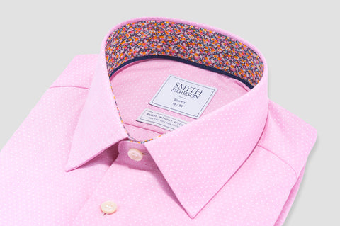 Smyth and Gibson Non-Iron Liberty Print Contrast Micro Dobby Slim Fit in Pink - Smyth & Gibson Shirts