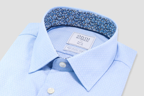 Smyth & Gibson Non-Iron Liberty Print Contrast Micro Dobby Slim Fit in Sky Blue - Smyth & Gibson Shirts