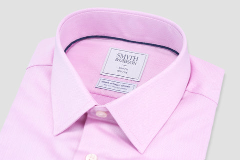 Smyth & Gibson S.W.E. Non Iron Herringbone Twill Slim Fit Shirt in Pink - Smyth & Gibson Shirts