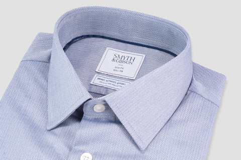 Smyth & Gibson S.W.E. Non Iron Herringbone Twill Slim Fit Shirt in Navy - Smyth & Gibson Shirts