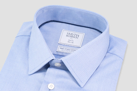 Smyth & Gibson S.W.E. Non Iron Herringbone Twill Slim Fit Shirt in Blue - Smyth & Gibson Shirts