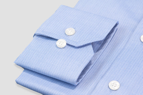 Smyth and Gibson Non Iron Herringbone Twill Slim Fit Shirt in Blue