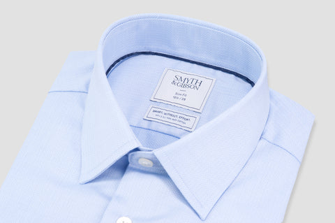 Smyth & Gibson S.W.E. Non Iron Herringbone Twill Slim Fit Shirt in Sky Blue - Smyth & Gibson Shirts