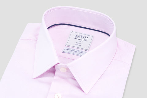 Smyth and Gibson Non Iron Micro Pique Dashes Slim Fit Shirt in Pink - Smyth & Gibson Shirts