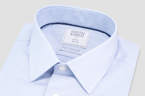 Smyth & Gibson S.W.E. Non Iron Micro Pique Dashes Slim Fit Shirt in Sky Blue - Smyth & Gibson Shirts