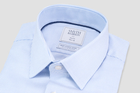 Smyth and Gibson Non Iron Dobby Stripe Slim Fit Shirt in Sky Blue - Smyth & Gibson Shirts