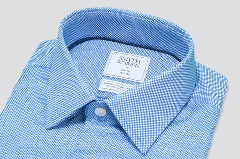 Smyth & Gibson S.W.E. Textured Dobby Grid Shirt in Blue - Smyth & Gibson Shirts