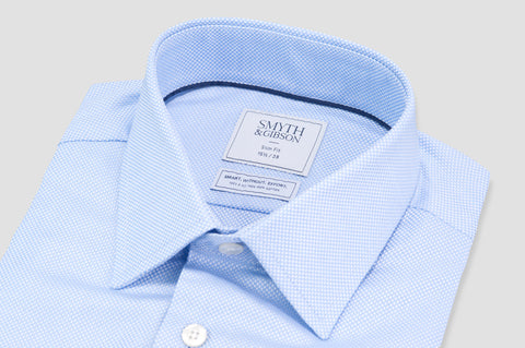 Smyth and Gibson Non Iron Textured Dobby Slim Fit Shirt in Sky Blue
